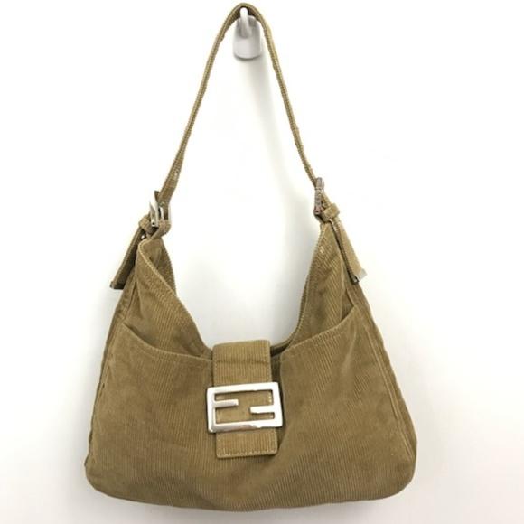 ae95a06b12 FENDI Handbags - Fendi Corduroy Shoulder Bag in Olive with Dustbag